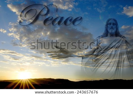 Jesus at creation with sunset and word Peace - stock photo