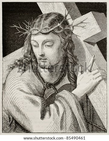 Jesus carrying the cross. Created by Del Piombo, published on Magasin Pittoresque, Paris, 1842 - stock photo