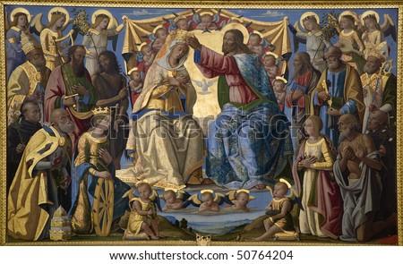 Jesus Christ and coronation of holy mary - paint from Siena church Sata Maria dei Servi - stock photo