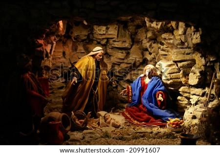 Jesus Christ baby with Maria and David - stock photo