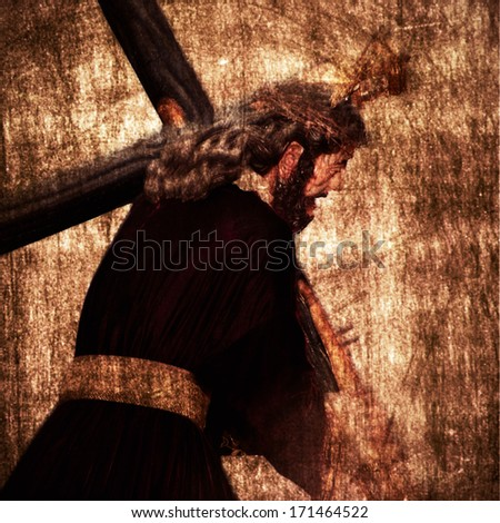 Jesus Christ carrying the Holy Cross on a vintage background - stock photo