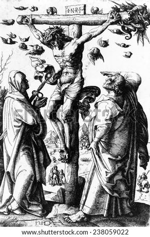 Jesus Christ, Christ on the Cross, etching by Daniel Hopfer, ca 1490-1536. - stock photo