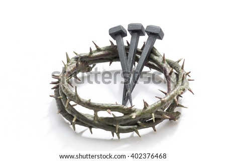 Jesus Christ Crown Of Thorns And Nails On A White Background Focus Is Part