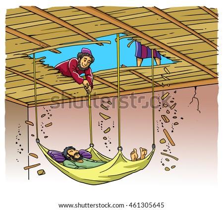 Jesus Christ Heals Paralytic Stock Illustration 461305645