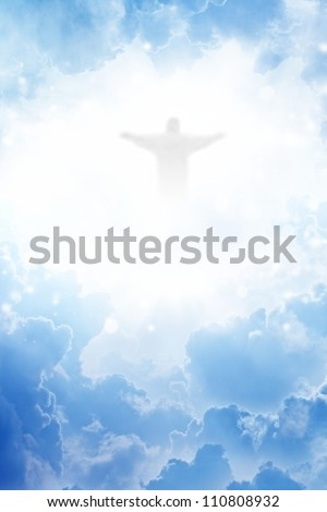Jesus Christ in blue sky with clouds - heaven - stock photo