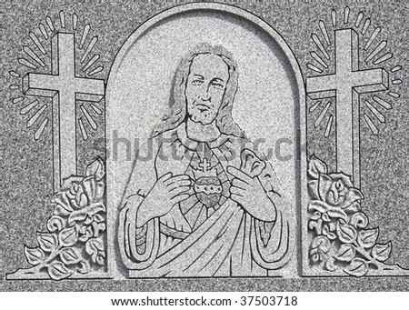 Jesus Christ in the middle of two crosses - stock photo