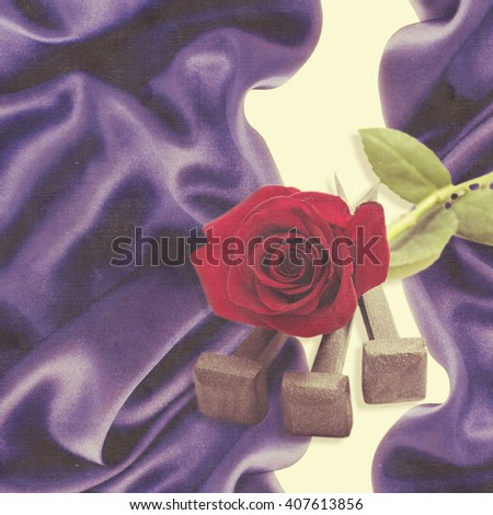 Jesus Christ nails from the Crucifixion and red rose on vintage background. - stock photo