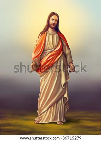 Jesus Christ of Nazareth. Original digital illustration - stock photo