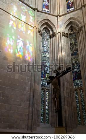 Jesus Christ on the cross in the Batalha Santa Maria da Vitoria Dominican abbey - Portugal - stock photo