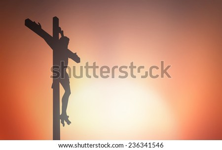 Jesus Christ on the cross. Mercy Good Friday Christian Easter Sunday Grace Eucharist Resurrection Last Supper Maundy Thursday Covenant Great Sheer Mysteries Holy Week Christian Lent Beautiful concept. - stock photo