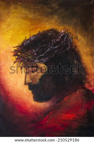 Jesus Christ. original oil painting on canvas   - stock photo