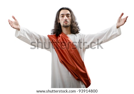Jesus Christ personifacation isolated on the white - stock photo