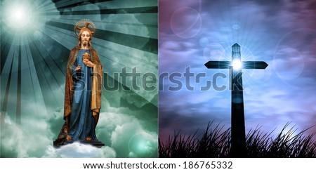 jesus christ  statue cross and sunset sky background - stock photo
