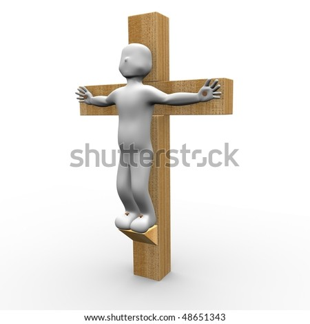 Jesus died for us on the cross - stock photo