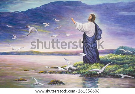 Jesus feeds birds, original oil painting - stock photo