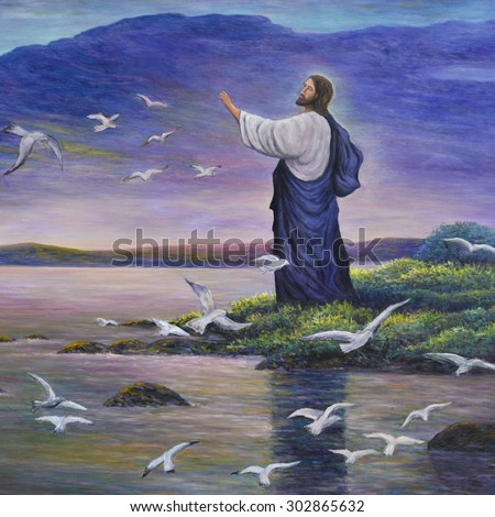 Jesus feeds birds, original oil painting on canvas - stock photo