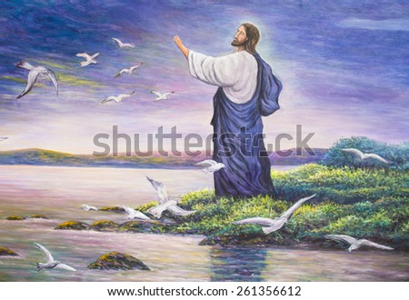 Jesus feeds birds, original oil painting, zoom in - stock photo