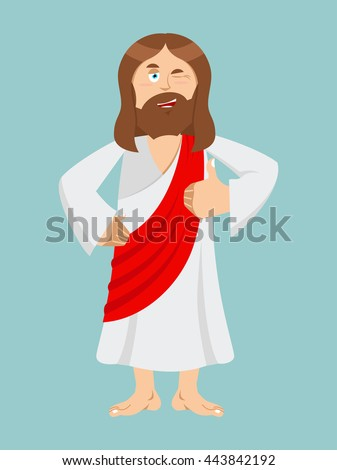 Jesus hands shows thumbs up. Son of God. Signs all right. Hand showing ok. Gesture of hand. Jesus of Bible character. Biblical man