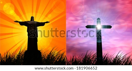 jesus in a grass,cross and sunset sky background - stock photo
