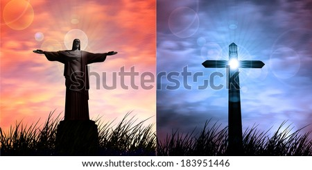 jesus in a grass cross and sunset sky background