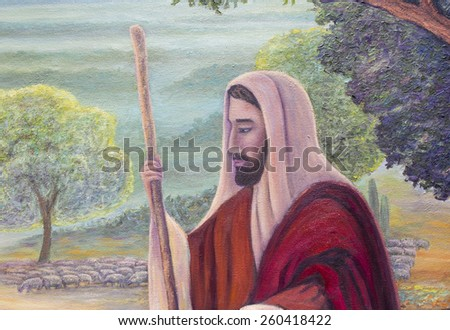 Jesus is the shepherd, original oil painting, close up landscape - stock photo