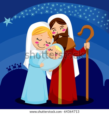 Jesus, Mary and Joseph under the shining star of Bethlehem. Raster version of vector illustration ID: 64246198 - stock photo
