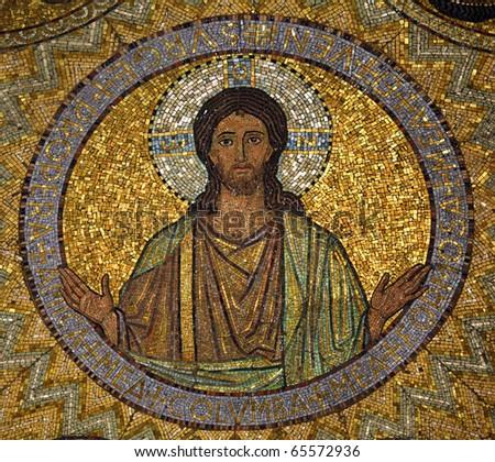 Jesus, mosaic, Jerusalem-The Church of Hagia Maria Zion-The Dormition Church - stock photo