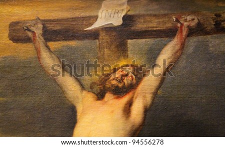 Jesus on the cross; famous painting created by the Flemish baroque painter Anthon Van Dyck. - stock photo