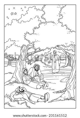 Jesus Praying In The Garden Of Gethsemane Disciples At This Time Sleep