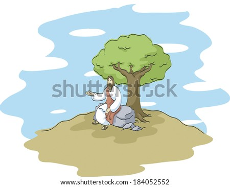 Jesus preaching under a tree - stock photo