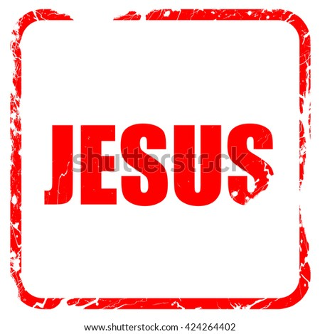 jesus, red rubber stamp with grunge edges - stock photo