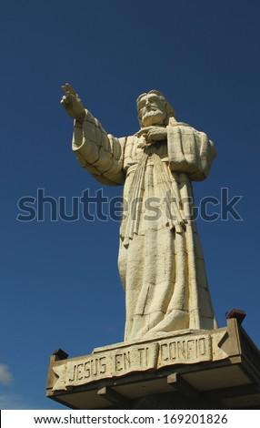 Jesus Statue overlooking San Juan del Sur, Nicaragua - stock photo