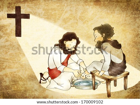 Jesus washing another mans feet.