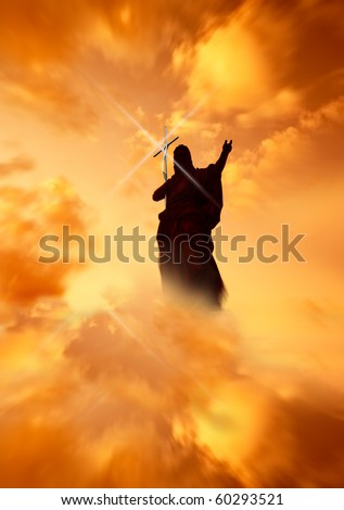 Jesus with Cross pointing to the light in the Heavens - stock photo