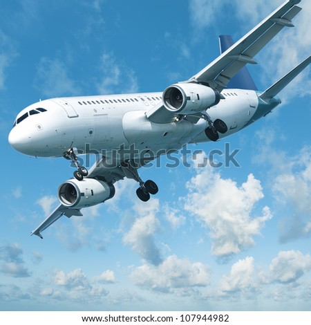 Jet aircraft is maneuvering for landing, square composition - stock photo