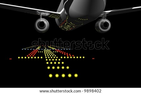 Jet airliner landing at night - stock photo