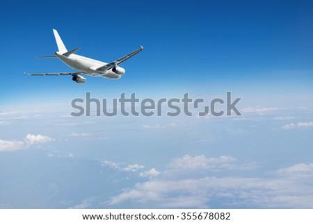 jet airplane in  sky - stock photo