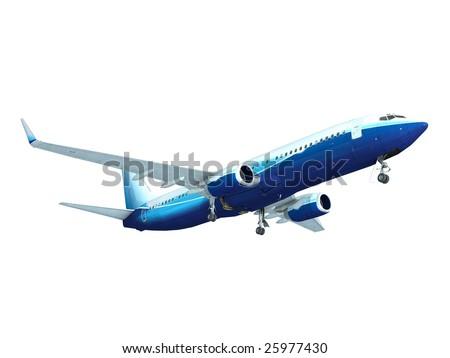 Jet airplane landing, isolated on white - stock photo