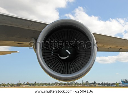 Jet airplane wing and engine front view