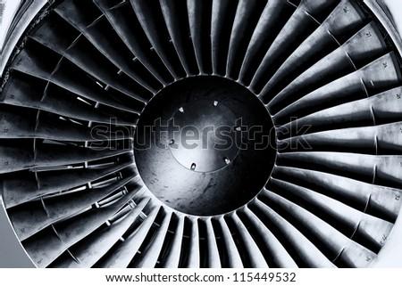 Jet engine close up. Black andwhite. Toning. - stock photo