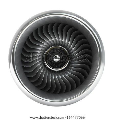 Jet engine front view isolated on white background High resolution 3d  - stock photo