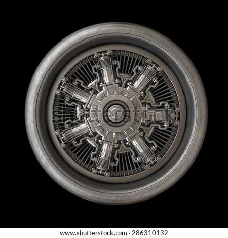 Jet engine inside isolated on black background. High resolution 3d