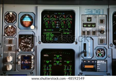 jet engine instrument panel at takeoff - stock photo
