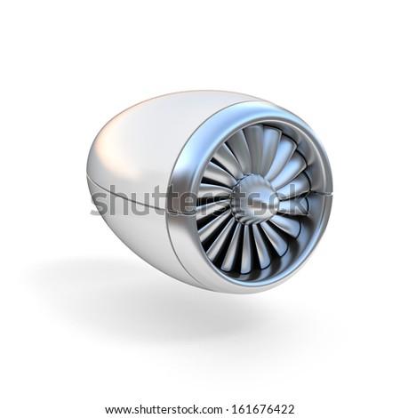 jet engine isolated on white background - stock photo