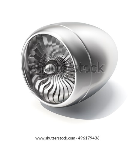 Jet engine isolated on white background. 3d rendering