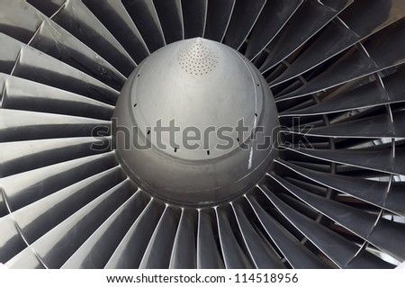 Jet engine transport plane closeup - stock photo