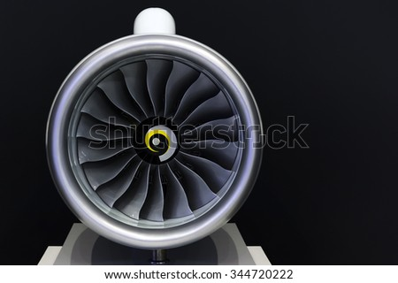 Jet engine turbine blades of plane, aircraft concept, aviation and aerospace industry, isolated on black background  - stock photo