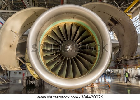 Jet engine with covers open for maintenance and inspection - stock photo