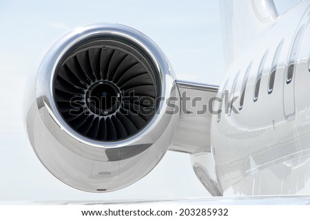 Jet Engine with on a luxury private aircraft - stock photo