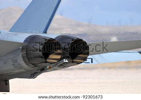 Jet Engines in taxiing - stock photo